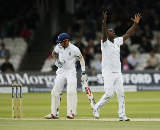 Sri Lanka's Angelo Mathews celebrates the wicket of Alex Hales. Photo:Action Images via Reuters