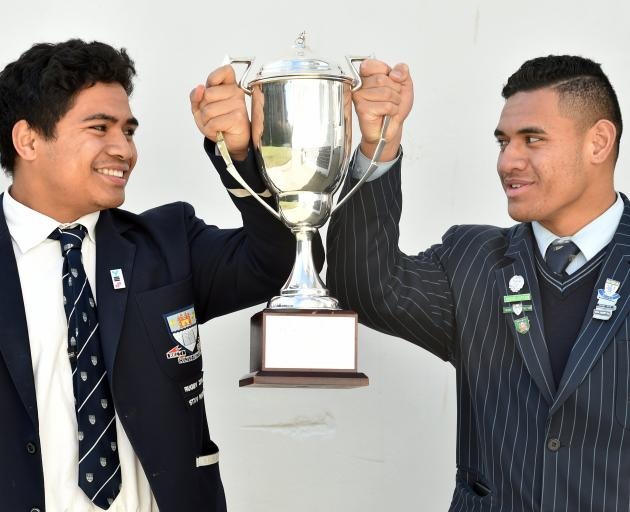 Otago Boys' High School captain Tevita Asi (left) and King's High School co-captain Giovanni...
