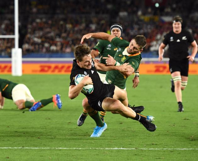 New Zealand's George Bridge scores the first try. Photo: Reuters