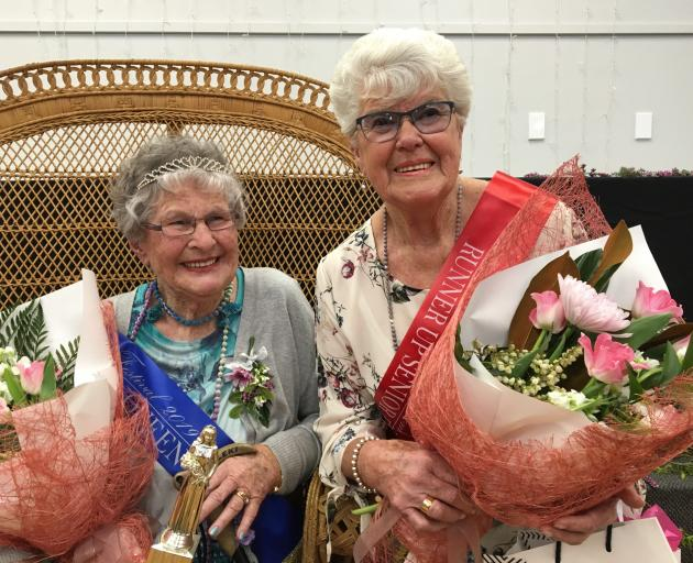 Gwen Harrex (left) has been crowned 2019 Senior Blossom Festival Queen and Rosemary Magrath is this year's runner-up. Photo: Alexia Johnston