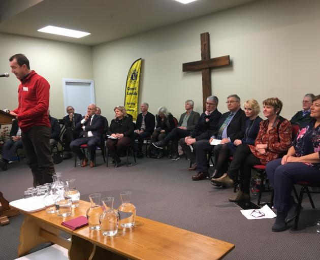 Cromwell Lions Club member and Cromwell election meeting organiser Greg Wilkinson welcomes local...