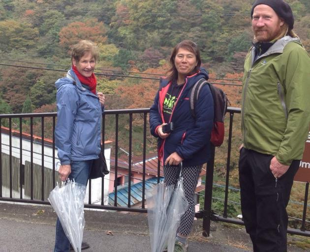 Mike Harris with his wife Aki and his mother Heather Cox in Minakami.