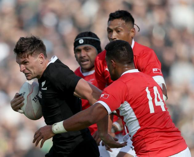 George Bridge of the All Blacks makes a break during the rugby Test Match between the New Zealand All Blacks and Tonga. Photo: Getty Images