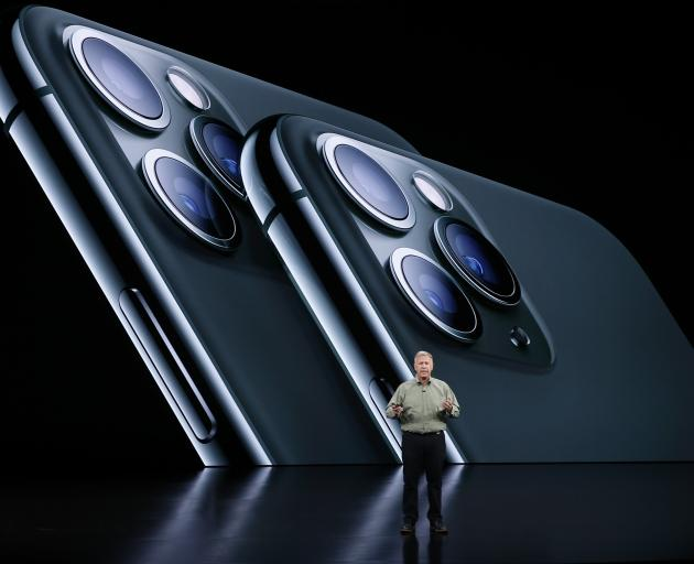 Phil Schiller presents the new iPhone 11 Pro at an Apple event at their headquarters in Cupertino. Photo: Reuters