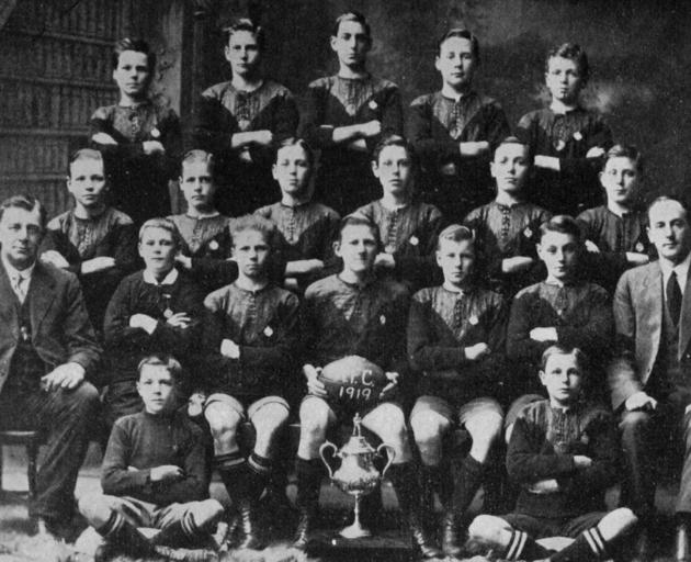Arthur Street School team, winners of the primary schools' rugby championship, 1919. Back row (from left): A. Harris, P. Forsyth, R. Bennell, T. Bennett, R. Callis. Second row: D. Allan, A. Irvine, L. Newman, R. Johnstone, A. Clack, L. Churchill. Third ro