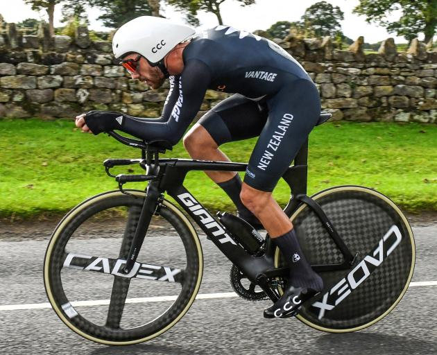 New Zealand cyclist Patrick Bevin gives it everything in the elite men's time trial at the UCI...