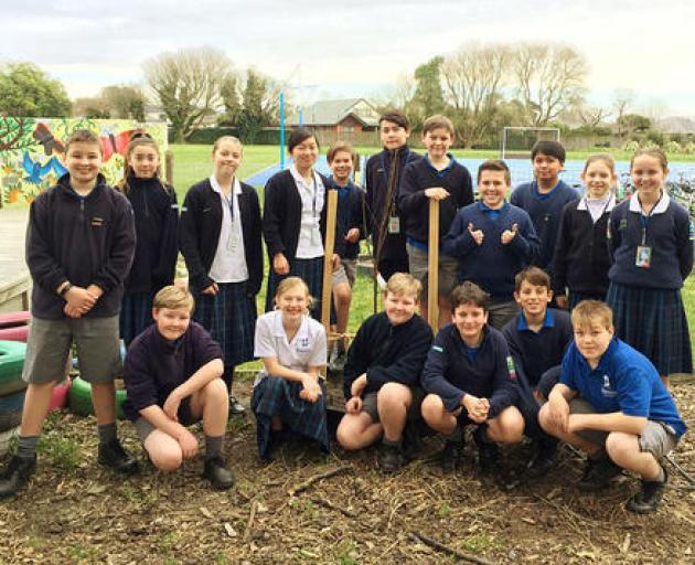Breens Intermediate pupils love getting out and about in the school garden.