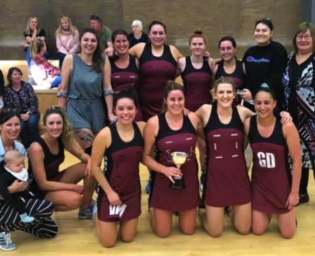 Broadfield A celebrates their first Selwyn premier netball title since 2012. Photo: Selwyn Netball.