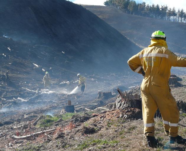 Firefighters from the Wakari brigade damp down hot spots in a rural gully near Lawrence yesterday...