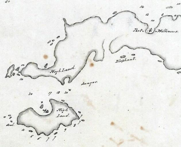 Part of Bunker's 1808 map of the Foveaux Strait region, showing an anchorage at the island and ...