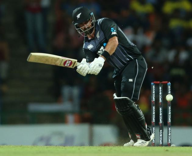 Colin de Grandhomme plays the ball down the leg side for the Black Caps against Sri Lanka. Photo:...
