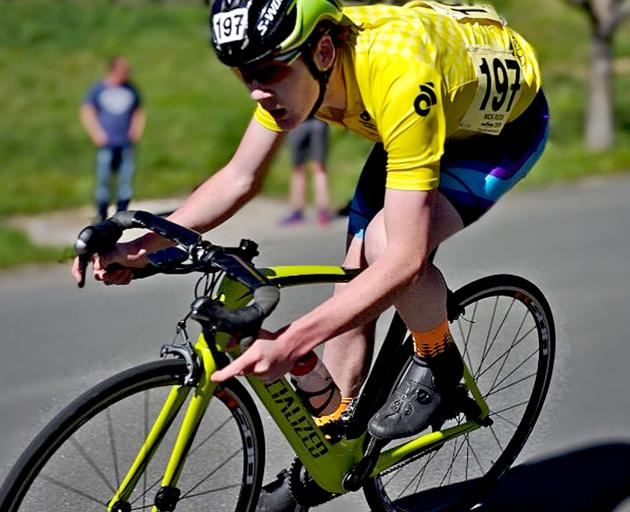 Rolleston College's Nick Rush wearing the yellow jersey during the Southern Tour in Blenheim.