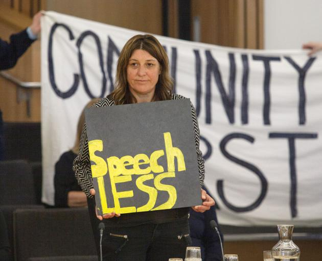 Emma Twaddell lead a protest against the effects of the Northern Arterial motorway which will effectively cut St Albans in half. Photo: Geoff Sloan