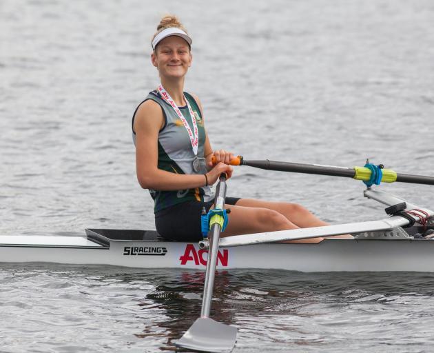 Bayfield High School's Eva Hofmans won Otago's sole single sculls medal in the girls under-18 grade. Photo: Sharron Bennett