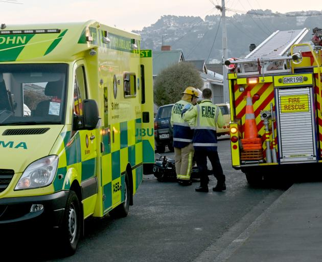 A motorcyclist was hurt after a crash on Fawcett St this evening. Photo: Linda Robertson