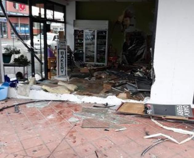 The damage following a car crashing into a Ferry Rd bakery on Sunday morning. It was one of three similar incidents that night. Photo: Kirstie Marie
