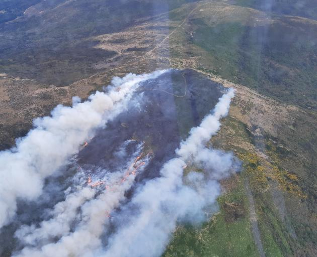 An aerial image taken of the fire near Flagstaff today. Photo: Fire and Emergency New Zealand