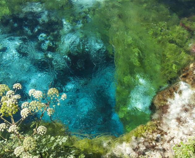 The beautiful turquoise waters of the Syri i Kalter (Blue Eye) spring in Saranda.