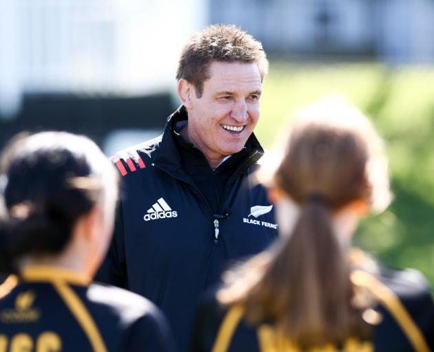 Black Ferns coach Glenn Moore speaks to members of the Wellington Girls' College team during yesterday's media announcement confirming him as the Ferns' full-time head coach until the 2021 World Cup. Photo: Getty Images