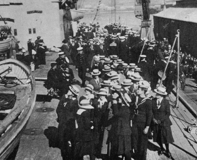 College girls being shown over HMS New Zealand in Wellington Harbour. - Otago Witness, 5.9.1919