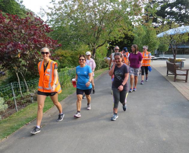 Green Prescription co-ordinator Katri Vaiknemets leads a walk during its summer walks series....