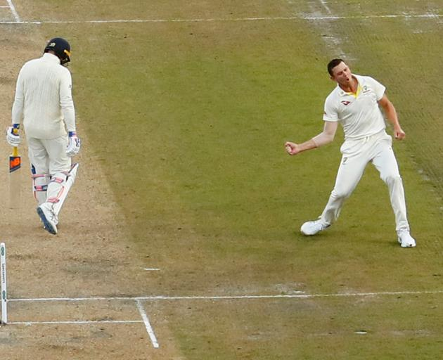 Australia's Josh Hazlewood celebrates taking the wicket of England's Jason Roy. Photo:  Action Images via Reuters
