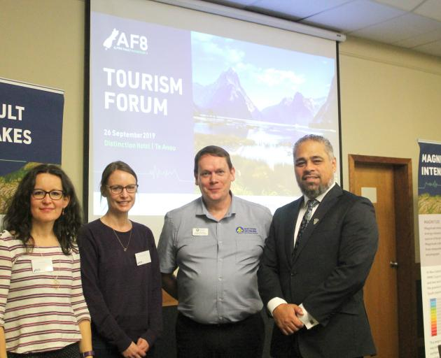 The AF8 project team of (from left) Caroline Orchiston, Alice Lake-Hammond and Angus McKay,...