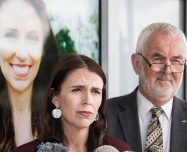 Prime Minister Jacinda Ardern with Labour Party president Nigel Haworth answered media questions...