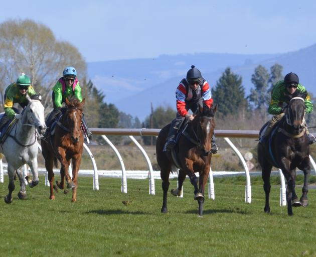 Belle Hope and rider Steven Prince (outer) get the better of Courte Zarindi and Jacob Lowry at...