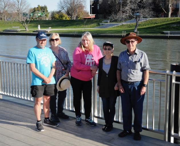 Close neighbours of the proposed aquasports park on red-zoned land in Kaiapoi, Graeme and Maree Hazeldine, left, with Michelle MacWilliam, centre, and Heather and Warren May, are opposed to the proposal. Photo: Shelley Topp