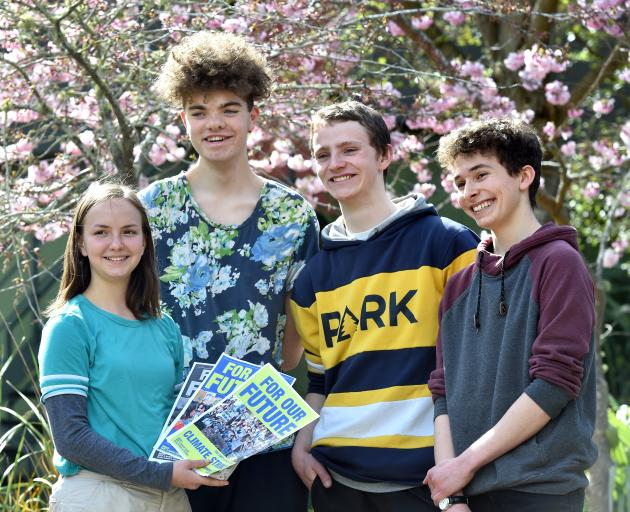 Logan Park High School pupils Linea Simons (17), Abe Baillie (17), Finn McKinlay (18) and Zak...