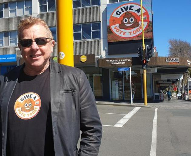 """Council chief executive Craig Stevenson was walking down the high street sporting t-shirt with a """"I give a shit"""" logo when RNZ caught up with him. Photo: RNZ"""