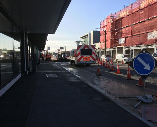 Traffic management is in place on High St, Rangiora. Photo: WDC Facebook