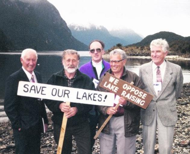 Five of the six original Guardians of Lake Manapouri, Monowai and Te Anau (from left) Wilson...