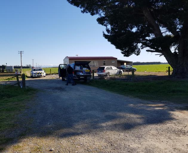 Police at the scene of a homicide investigation in Rakaia. Photo: John Keast