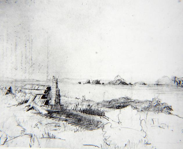Bishop George Selwyn's sketch of sealers' huts at Whenua Hou. The Anglican  primate visited the...