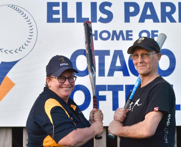 New Otago Softball Association life members Sandy Wallace (left) and Peter Mathieson at Ellis Park this week. Photo: Gregor Richardson