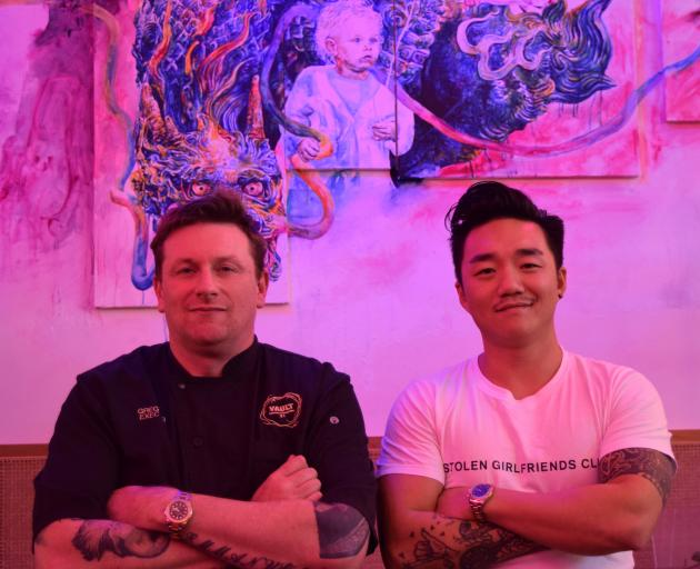 AND Hospitality Group executive chef Greg Piner (left) and owner Andre Shi on the eve of Asian street food restaurant Deja vu opening in central Dunedin last week. Photo: Shawn McAvinue