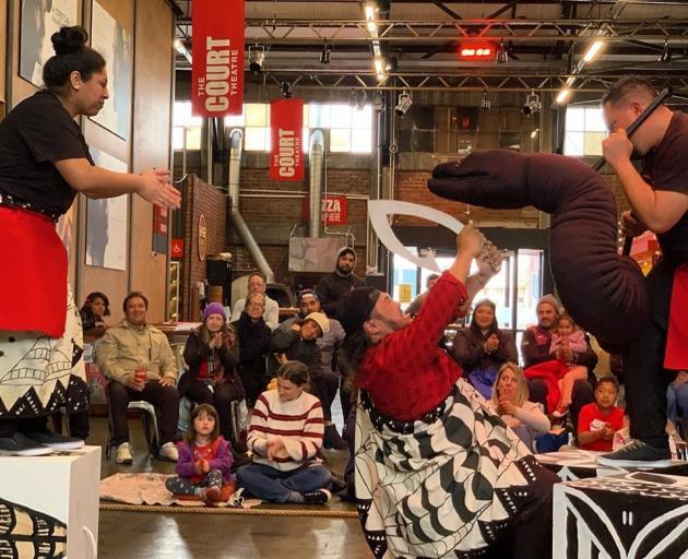 Talia-Rae Mavaega,  Jake Arona and Mana Tatafu performing O Le Malaga Fa'a'Atua (The Journey of...