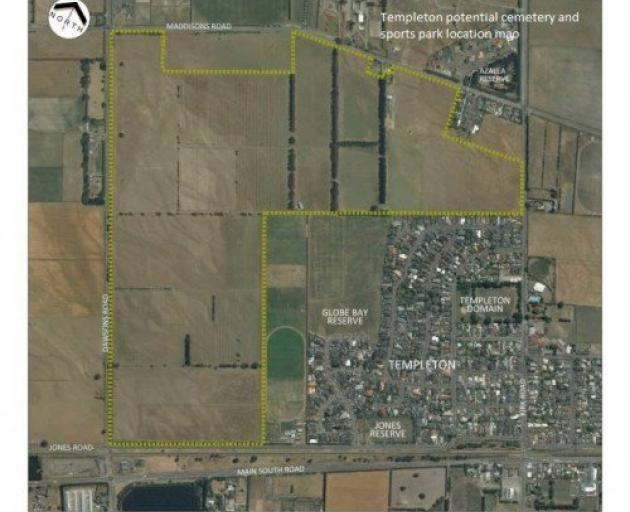 An aerial map of the city council land that could be turned into a cemetery and sports park.
