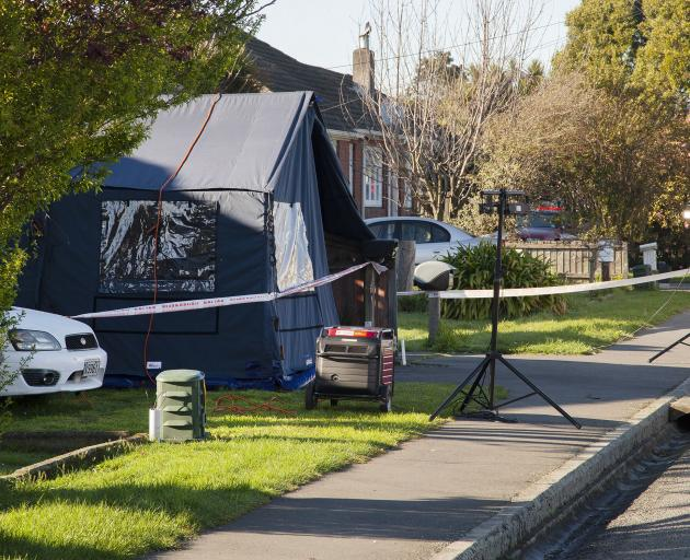 The scene at the Wainui St, Riccarton where a Mongrel Mob member was stabbed. Photo: Geoff Sloan.
