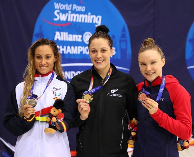 Sarai Gascon of Spain (silver) Sophie Pascoe of New Zealand and Toni Shaw of Great Britain (bronze) after the Women's 100m Freestyle S9 Final. Photo: Getty Images