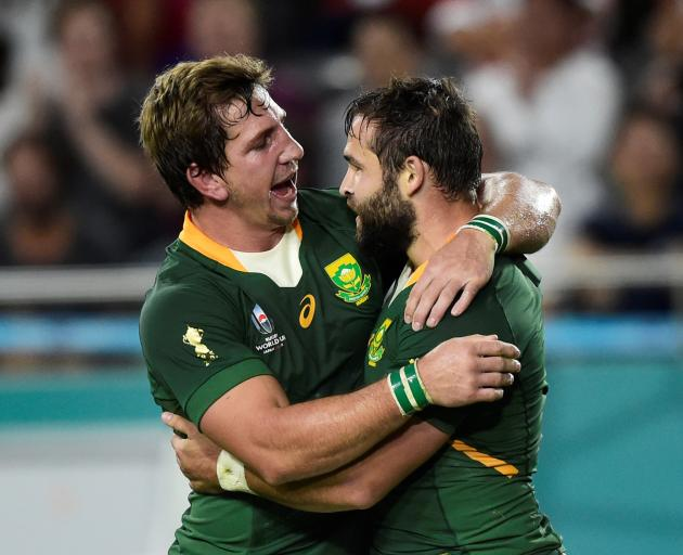 South Africa's Cobus Reinach celebrates scoring a try. Photo: Reuters