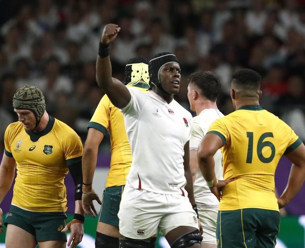 Maro Itoje celebrates England's big win over Australia. Photo: Reuters
