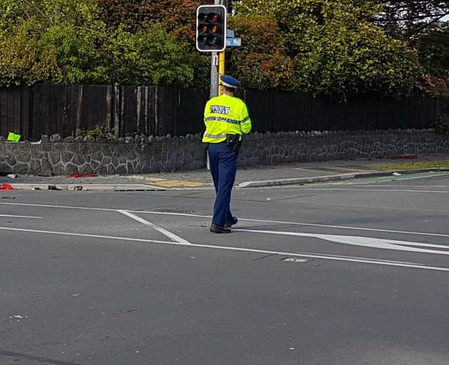 Police at the scene of the crash on Tuesday.