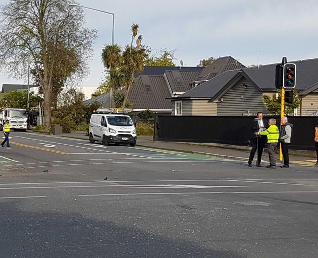 Police at the scene of a serious crash in Fendalton.