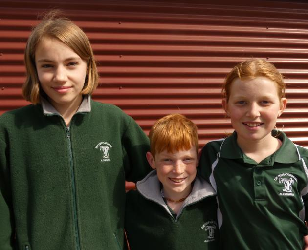 Organisers of The Terrace School's first Colour Run (from left) Milla Druce, Tait Payne and his...