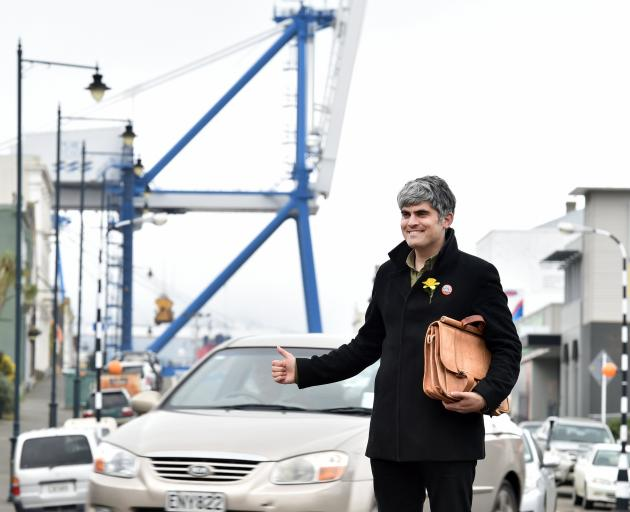 Dunedin mayor-elect Aaron Hawkins says hitchhiking to work from his Port Chalmers home is more efficient and gives him a better understanding of community views. Photo: Peter McIntosh