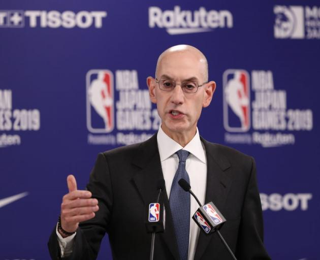 NBA commissioner Adam Silver speaks at a press conference in China yesterday. Photo: Getty Images