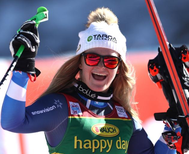 Alice Robinson of New Zealand celebrates winning the Audi FIS Alpine Ski World Cup - Women's Giant Slalom. Photo: Getty Images